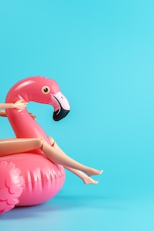 Inflatable pool toy flamingo with doll legs on a blue