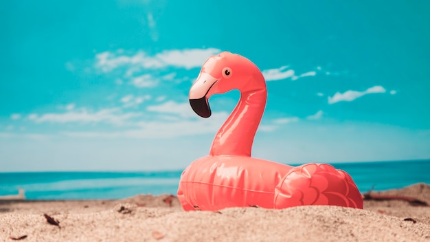 Inflatable toy of pink flamingo on beach