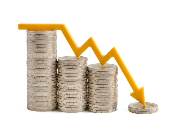 Inflation and the economic crisis financial market crash isolate on white background the yellow arro...
