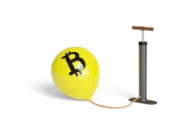 Надувной воздушный шар с изолированным знаком bitcoin.