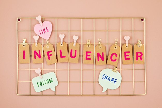 Influencer text on the golden colored mesh board
