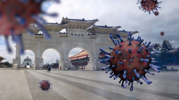 美しい入口ゲート記念碑記念館とインフルエンザコビッド19ウイルス