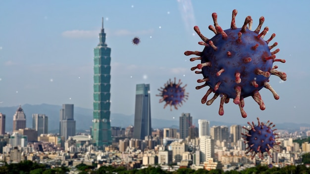 Influenza covid 19 virus with beautiful and modern tall tower in the financial district of taipei as dangerous flu