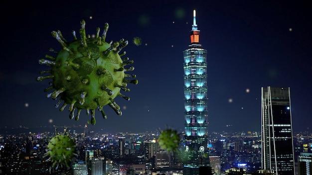 夜の台北の美しくモダンな背の高い塔とインフルエンザcovid19ウイルス