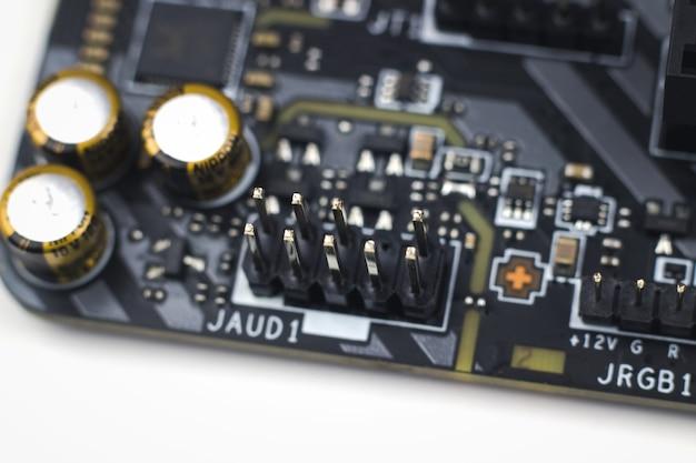 정보 공학 구성 요소입니다. 현대 컴퓨터 회로 기판 컴퓨터 마더보드의 일부입니다.