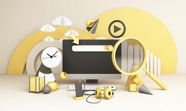 情報検索バー電子機器、時計、コンピューターの幾何学的形状、虫眼鏡の3dレンダリングを備えた電話に囲まれています