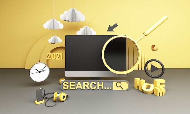 Information search bar surrounded by electronics, watches, computers geometric shape and phones with magnifying glass 3d render