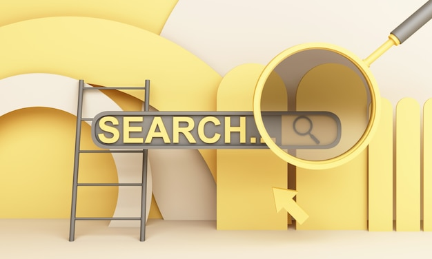 Information search bar surrounded geometric shape and magnifying glass 3d render