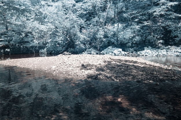 Infrared photograph of the mossy rocks taken in skrad municipality of croatia