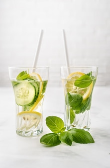 Infused water with lemon, cucmber and basil