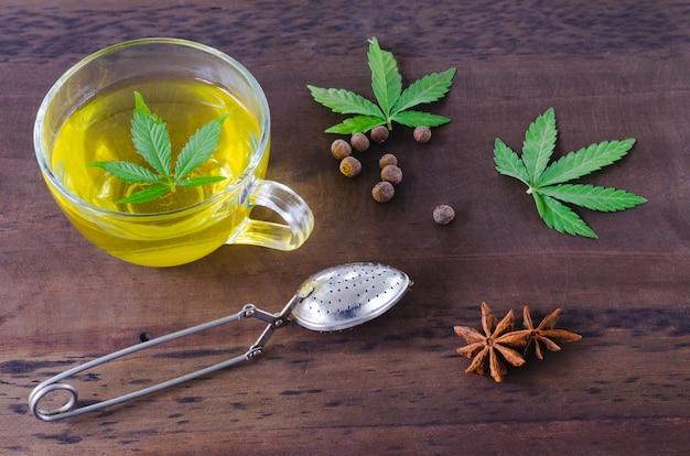 Infusion of cannabis. cannabis leaf