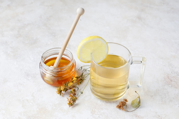 Infusion with honey and lemon and linden flower.
