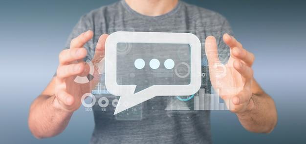 Ingのデータとメッセージのアイコンを保持している実業家のビュー