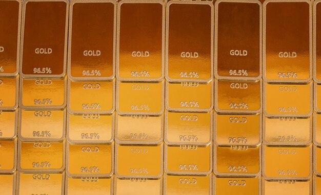 Фон слитка. золотые слитки рядами