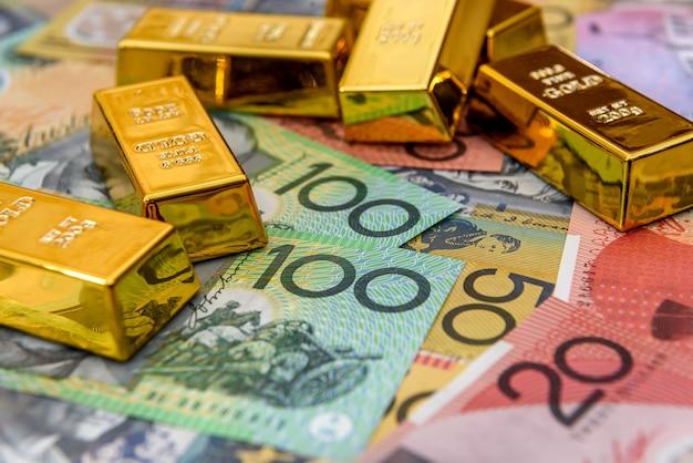 다채로운 호주 달러 지폐 근접 촬영에 주 괴