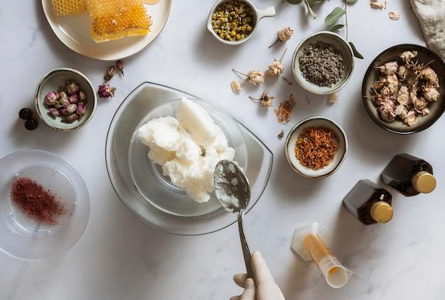 Ingredients arrangement top view