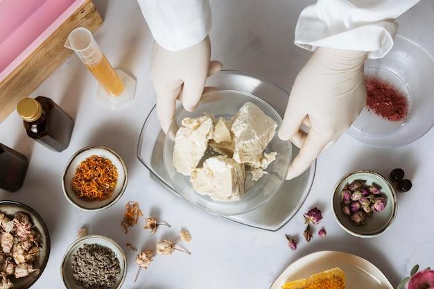 Ingredients arrangement above view