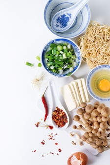 Ingredients for asian ramen soup