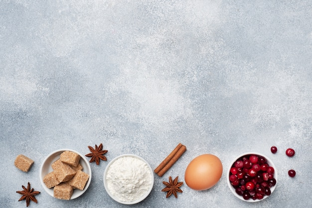 Ingredients for baking cookies, cupcakes and cake