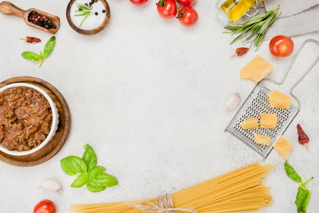 Ingredients for bolognese spaghetti frame