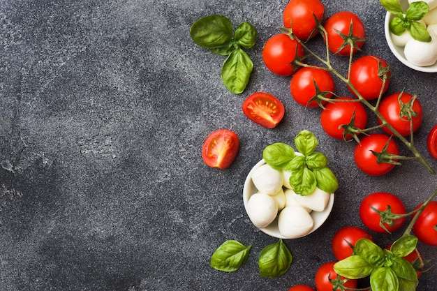 The ingredients for a caprese salad. basil, mozzarella balls and tomatoes on a dark concrete background with copy space.