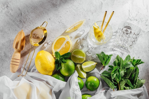 Ingredients for cocktail. mint, lime, lemons and ice. flat lay, top view.