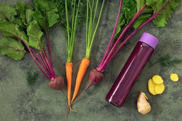 Ingredients for cooking beetroot detox drink top view