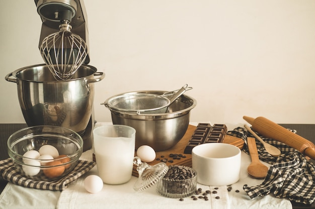 Ingredients for cooking chocolate cupcakes