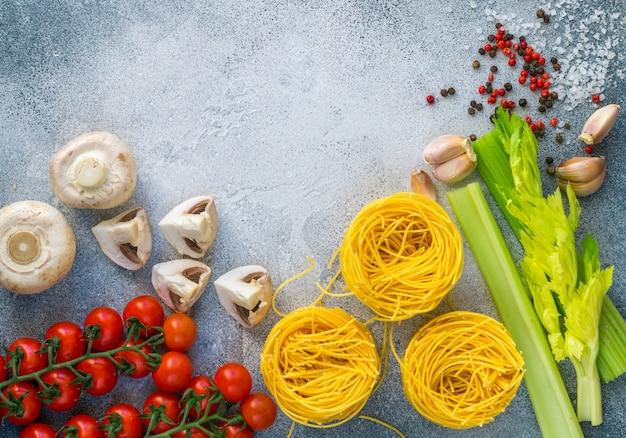 Ingredients for cooking dinner in italian or mediterranean style