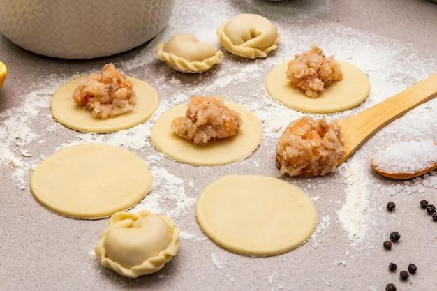 Ingredients for cooking fish dumplings