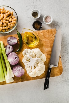 Ingredients for cooking soup on a cutting board