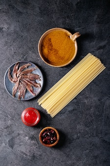 Ingredients for cooking spaghetti anchovy pasta