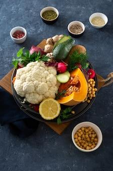 Ingredients cooking vegetarian indian food aloo gobi