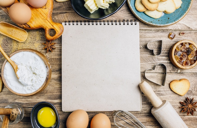 Ingredients for cooking on wooden kitchen table