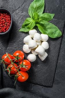 Ингредиенты для салата капрезе мини-сыр моцарелла листья базилика и помидоры черри