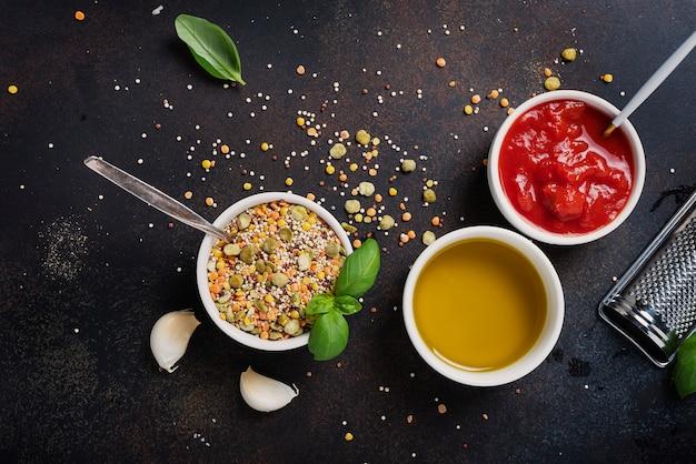 マメ科植物の料理用ベジタリアンミックスの材料