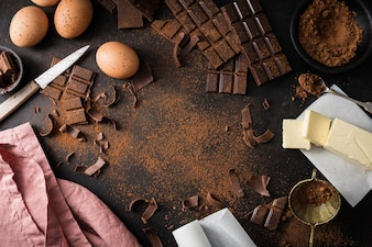 Ingredients for cooking chocolate pastry