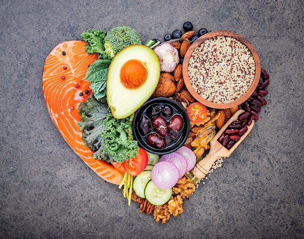 건강 식품 선택을위한 성분. 프리미엄 사진