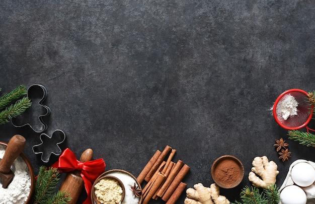 Ингредиенты для приготовления имбирных пряников. вид сверху