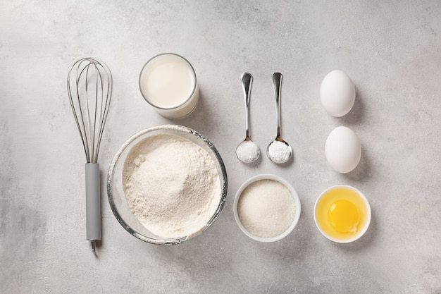 Shrovetideのパンケーキを作るための材料