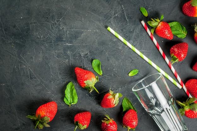 딸기 스무디 재료