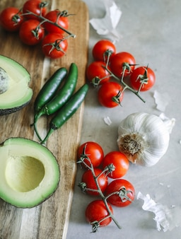 Ingredients for a fresh guacamole food photography recipe idea