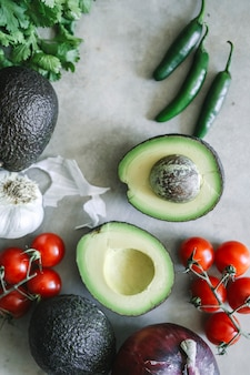 Ingredients for a fresh guacamole
