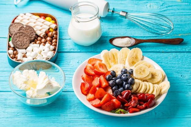 Ingredients for fruit milkshakes