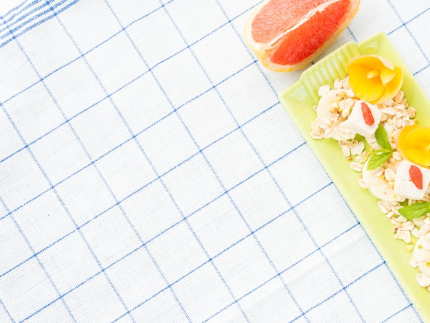 Ingredients for grapefruit smoothie with banana, oats and tofu