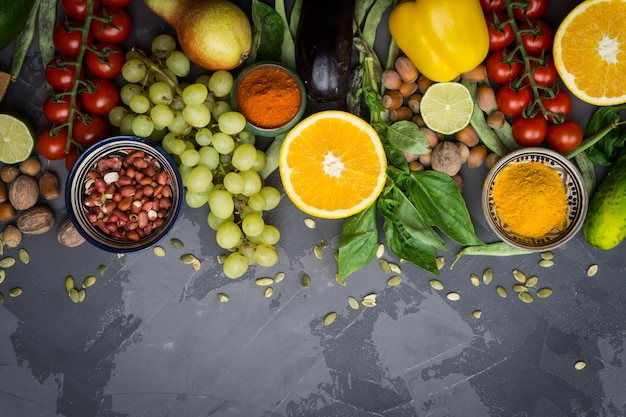 Ingredients for healthy cooking: vegetables, fruits, nuts, spices