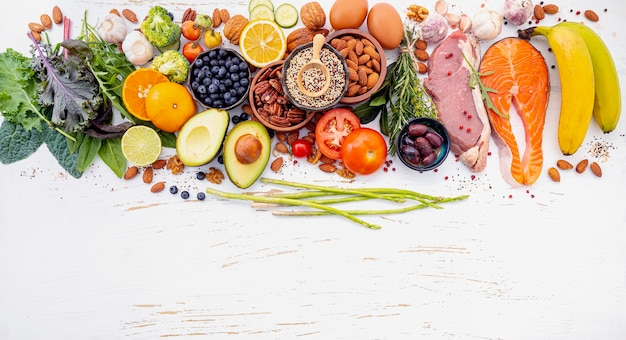Ingredients for healthy foods selection flat lay