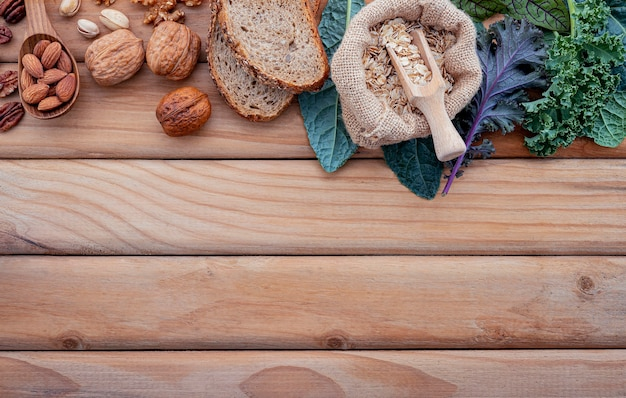 Ingredients for the healthy foods set up on shabby wooden
