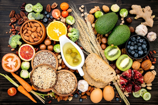 Ingredients for the healthy foods set up on wooden