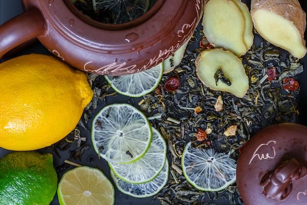 Ingredients for healthy ginger beverage.